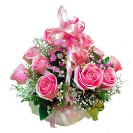 Send 20 Pink roses cane Basket 24 hrs Delivery