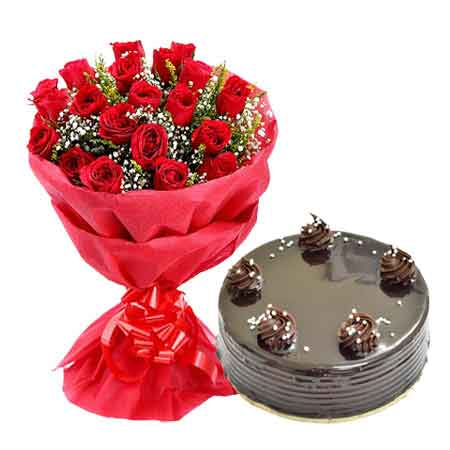 urgent Delivery 1 Kg Chocolate Cake n 20 Red roses paper Bunch