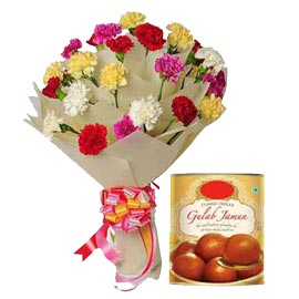 Send Online Gulab Jamun n mix carnations Bunch