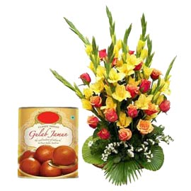same day Online Gulab Jamun pack n mix flowers Basket