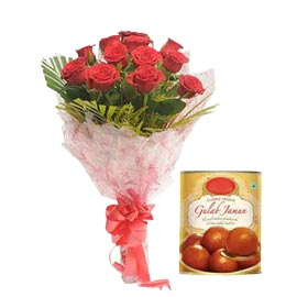 24 hrs Online Gulab Jamun pack n Red roses Bunch
