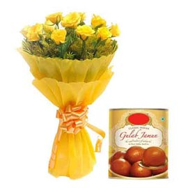 midnight Online 1 Kg gulab jamun pack n Yellow roses Bunch