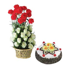 Send Online Half Kg Black Forest Cake n mix flower Basket