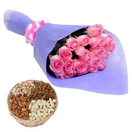 24 hrs Online Pink roses Bunch n Assorted Dry Fruits