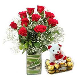 urgent Online Red roses in Vase, Teddy n Rocher Chocolates