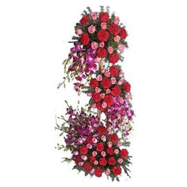 Send carnations roses n orchids grand three tier Basket Fast Delivery