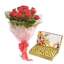 24 hrs Online honey dew n Red roses Bunch
