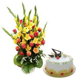 24 hrs Online Pineapple Cake n 35 mix flowers Basket