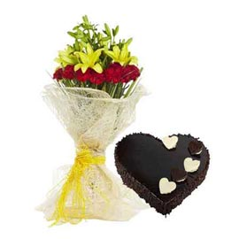 Send Online 1 Kg Chocolate Cake n mix flowers Bunch