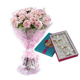 buy Online kaju katli Sweets n mix carnations Bunch