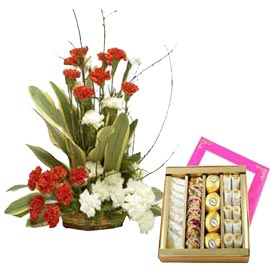 buy Online kaju mix Sweets n mix carnations Basket