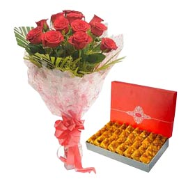 same day Online 1 Kg karachi halwa n Red roses Bunch combo