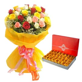 Send Online karanchi-halwa n mix roses Delivery