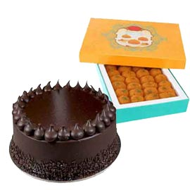 Send Online moti choor laddu n Chocolate Truffle Cake