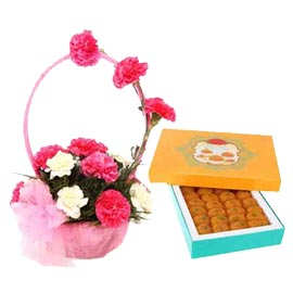 24 hrs Online moti choor laddu n mix carnations Basket