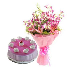 Send Urgent Half Kg Strawberry Cake n mix flowers Bunch