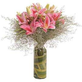 buy 8 Pink lilies glass Vase designer Arrangement Urgent Delivery