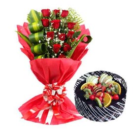 gift Online 1 Kg Chocolate Cake n 12 Red roses designer Bunch