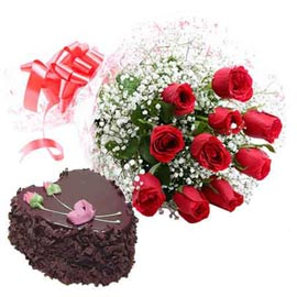 buy Online 1 Kg Chocolate Truffle Heart Cake n 10 Red roses combo