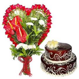 buy Online 2.5 Kg Chocolate Cake n mix flowers Bunch