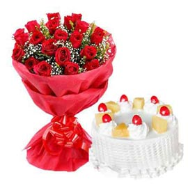 buy Online Pineapple Cake n 20 Red roses double paper Bunch