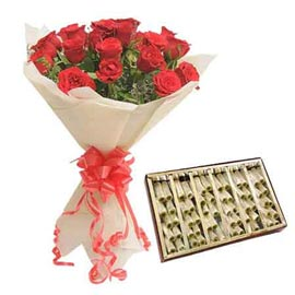 24 hrs Online Red roses paper Bunch n kaju pista roll