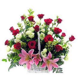 Send mix roses n lilies cane Basket Midnight Delivery