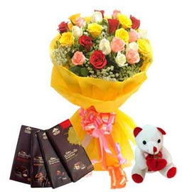 midnight Online mix roses Bunch, cute Teddy n bournville Chocolates