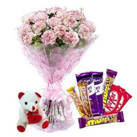 Send Online Assorted Chocolates, cute Teddy n carnations Bunch