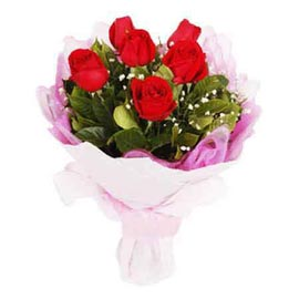 Send 10 Red roses White paper Bunch Midnight Delivery