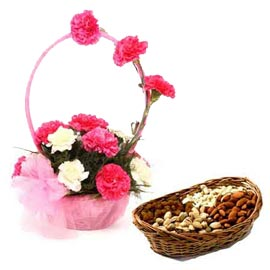 Send Online mix carnation n Dry Fruits in cane Basket