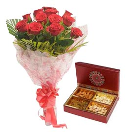 order Fast Online mix Dry Fruit box n Red roses Delivery