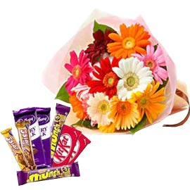Send Online mix gerberas Bunch n mix Chocolates