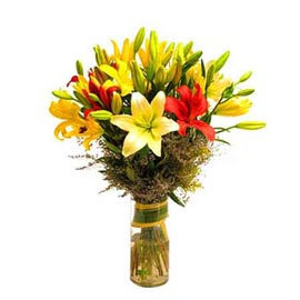 buy 10 mix lilies glass Vase Same Day Delivery