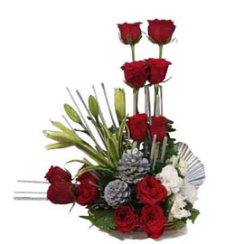 Send 12 Red roses n 6 White carnations Basket Urgent Delivery