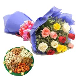 buy Online mix roses n Dry Fruits thali