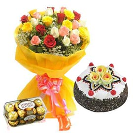 buy Online mix roses, Black Forest Cake n Rocher Chocolates