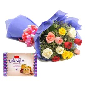 Send Online mix roses Bunch n Soan Papdi pack Delivery