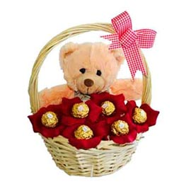 gift Online cute Teddy arranged in Ferrero Chocolate Hamper Basket