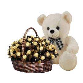 urgent Online 1 feet Teddy n Ferrero Rocher Chocolate Hamper