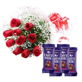 midnight Online Red roses Bunch n Fruit n nut Chocolates