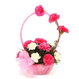 buy Pink n White carnations round handle Basket Fast Delivery