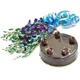 Send Online Half Kg Chocolate Cake n orchids Bunch