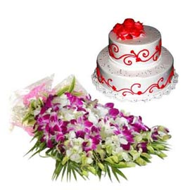 24 hrs Online Vanilla Party Cake n orchids Bunch