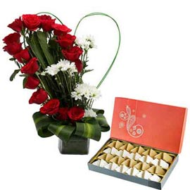 buy mix flowers Heart shape Vase arrangment n kaju katli