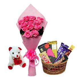 same day Online Pink roses Basket, Assorted Chocolates n cute Teddy