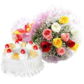 buy Online Pineapple Cake n mix roses Bunch