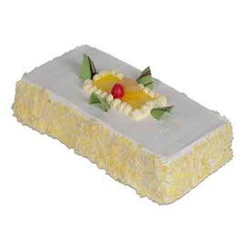 Send Online 1 Kg Pineapple rectangle Cake
