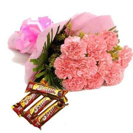 Send Online Pink Carnations N Five Star Chocolates
