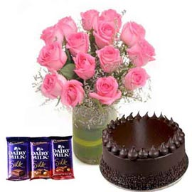 24 hrs Online Chocolates, Chocolate Cake n Pink roses in Vase